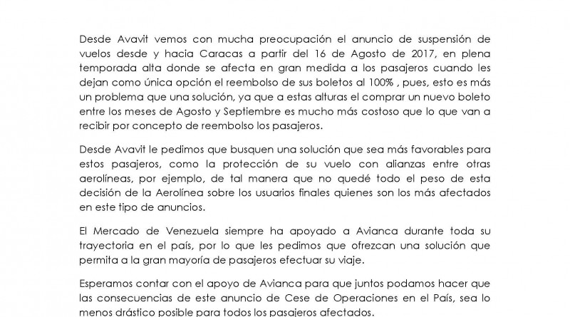 Carta a Avianca